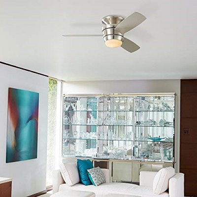 Harbor Breeze Mazon 44-in Brushed Nickel Flush Mount Indoor Ceiling Fan with Light Kit and Remote