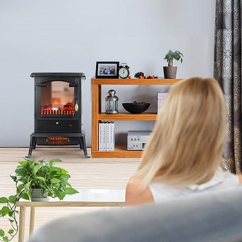 LIFE SMART Quartz Infrared Electric Fireplace Stove Heater with Remote Control